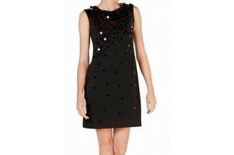 Alfani Women's Dress Black Size 8 Shift Sequin Embellished Scuba