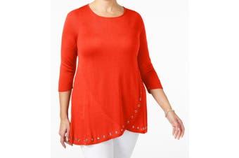 Belldini Women's Top Blood Orange Size 1X Plus Tunic Grommet-Trim