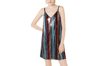 As U Wish Blue Size XS Junior Shift Sequin Tank Dress V-Neck Mini