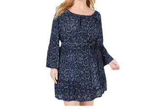Michael Michael Kors Women's Dress Blue Size 2X Plus Belted Snakeprint