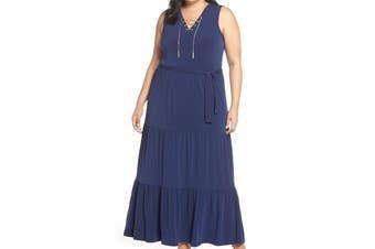 Michael Michael Kors Women Dress Blue Size 2X Plus Chain Lace Up Maxi
