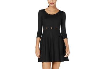 BCX Dress Black Size XS Junior A-Line Grommet-Trim Scoop-Neck Knit
