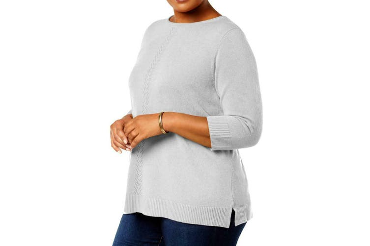 Karen Scott Women's Sweater Gray Size 3X Plus Luxsoft Rollneck Pullover