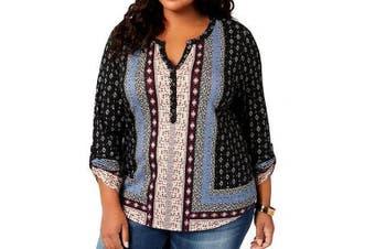 Style & Co. Women's Top Black Size 1X Plus Roll Tab Sleeve Henley