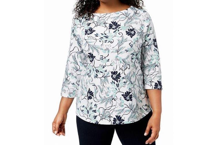 Charter Club Women's Blouse White Ivory Size 0X Plus Knit Floral