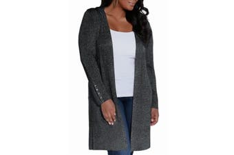 Belldini Womens Sweater Black Size 2X Plus Metallic Open Front Cardigan