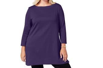 Karen Scott Women's Tunic Purple Size 2X Plus Boat-Neck Side-Slit