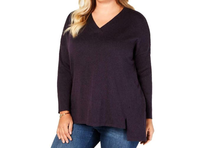 Style & Co Women's Sweater Purple Size 1X Plus V-Neck Ribbed Knit