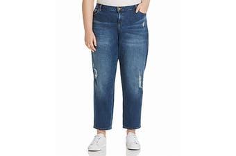 MICHAEL Michael Kors Women Blue Size 22W Plus Stretch Distressed Jeans