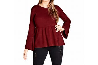 City Chic Women's Sweater Red Size Small S Plus Ribbed Bell Sleeve