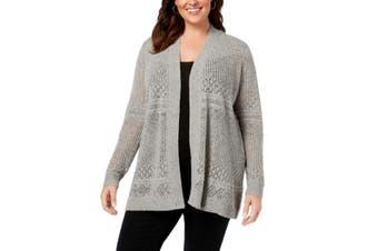 Belldini Women's Sweater Light Gray Size 2X Plus Cardigan Open-Front