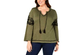 Style & Co Women's Blouse Green Size 3X Plus Embroidered Split Neck