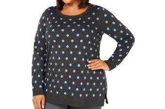 Charter Club Women's Sweater Gray Size 1X Plus Polka Dot Print Pullover