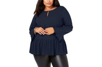 MICHAEL Michael Kors Women's Blouse Navy Blue Size 0X Plus Peplum