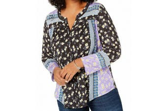 Style & Co. Women's Top Black Size 1X Plus Patched Print Button Up