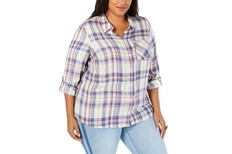 Style & Co Women's Top Purple Size 2X Plus Knit Button Down Plaid