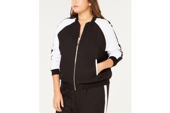 MICHAEL Michael Kors Women's Jacket Black White Size 2X Plus Bomber