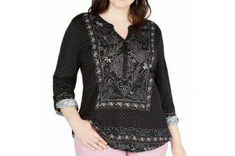 Style & Co. Women Top Black Size 1X Plus Printed Roll-Tab Sleeve