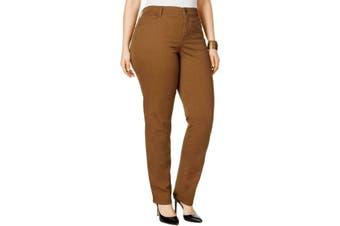 Style & Co. Women's Pants Brown 18W Plus High Rise  Slim Leg Stretch