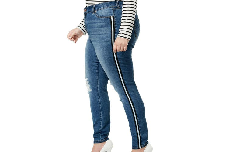 Celebrity Pink Women's Jeans Blue Size 20 Plus Skinny Side-Striped