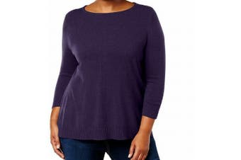 Karen Scott Women's Sweater Purple Size 1X Plus Pullover Lux Cable-Knit