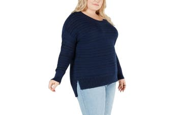 Style & Co. Women's Sweater Blue 2X Plus Pullover Striped Scoop Neck