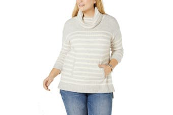 Charter Club Women's Sweater Gray Size 3X Plus Striped Cowl Neck
