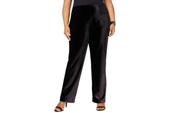 Alfani Womens Pants Black Size 2X Plus Stretch Velvet Foil Wide Leg