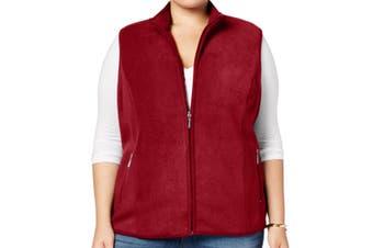 Karen Scott Women's Activewear Vest Red Size 3X Plus Fleece Full Zip