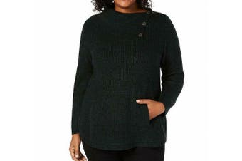 Style & Co. Women's Sweater Pine Green Size 2X Plus Envelope-Neck