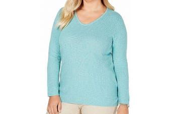 Karen Scott Womens Sweater Aqua Green Size 2X Plus Marled-Knit Pullover