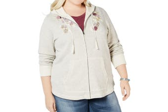 Style & Co Women's Sweater Beige Size 1X Plus Embroidered Full Zip