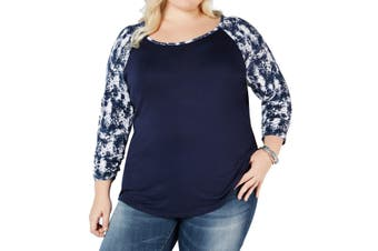 Style & Co. Women's Knit Top Blue Size 1X Plus Printed Raglam-Sleeve