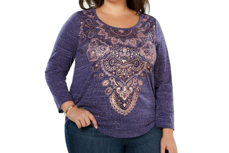 Style & Co. Women's Top Purple Size 2X Plus Metallic Graphic Print