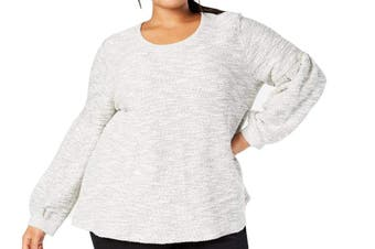 Style & Co. Women's Sweater Gray Size 1X Plus Pullover Bishop Sleeve