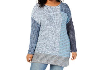 Style & Co. Women's Sweater Blue Size 2X Plus Colorblok Pullover Knit