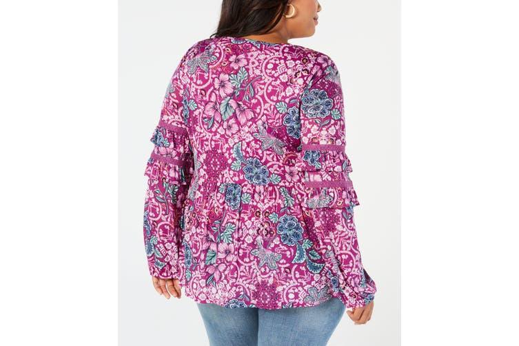 Style & Co Women's Top Purple Size 1X Plus Split-Neck Floral Ruffled