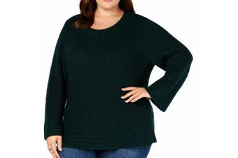 Style & Co Women's Sweater Green Size 1X Plus Pullover Lantern-Sleeve