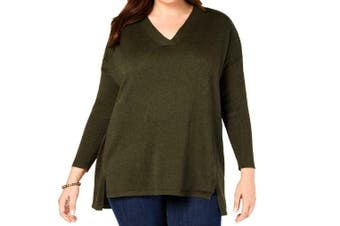 Style & Co. Women's Sweater Green Size 1X Plus V-Neck Ribbed High-Low