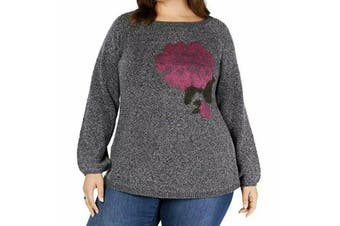 Style & Co Women's Sweater Charcoal Gray Size 3X Plus Floral Pullover