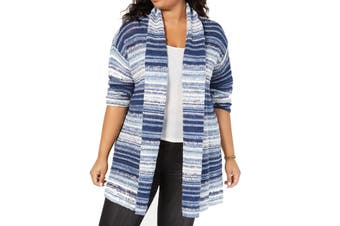Style & Co. Womens Sweater Blue 3X Plus Striped Marled Open Cardigan