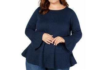 Style & Co. Women's Sweater Blue 2X Plus Pullover Bell-Sleeve Peplum