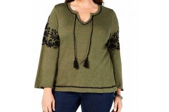 Style & Co Women's Blouse Olive Green Size 3X Plus Embroidered Tassle