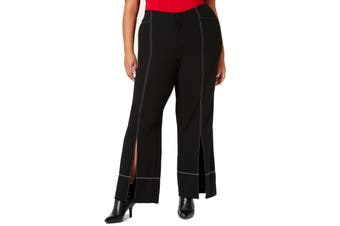 INC Womens Pants Black Size 16W Plus Contrast Stitch Wide Leg Stretch