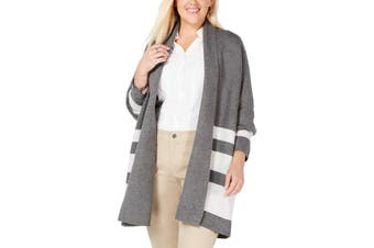 Charter Club Women's Sweater Gray Size 1X Plus Open Front Cardigan
