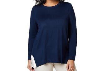 Charter Club Women's Sweater Blue Size 1X Plus Pullover Side-Stripe