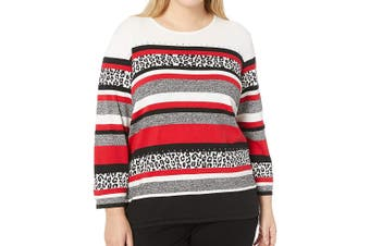 Alfred Dunner Women's Sweater White Ivory Size 1X Plus Striped Pullover