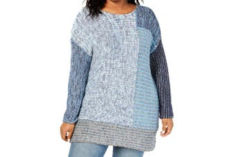 Style & Co. Women's Sweater Blue Size 3X Plus Colorblok Pullover Knit