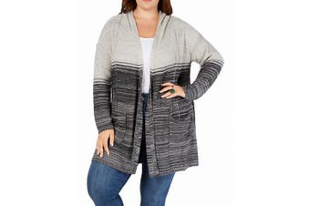 Style & Co. Womens Sweater Gray Size 3X Plus Cardigan Open-Front Ombre