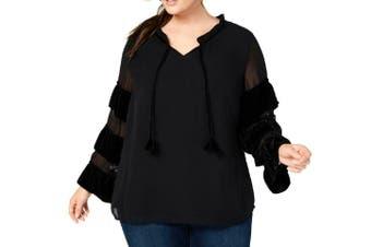 Style & Co. Womens Blouse Black Size 2X Plus Ruffled Velvet V-Neck